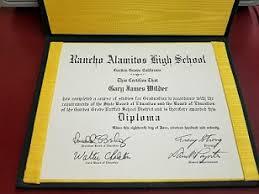 High School Diploma For Rancho Alamitos High School Gary James Wilder