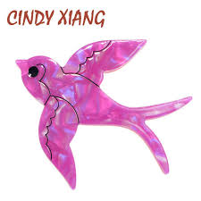Online Shop <b>CINDY XIANG</b> Acetate Fiber Swallows Brooches for ...