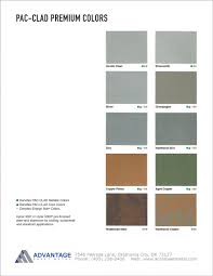 Pac Clad Metal Color Chart Pac Clad Premium Color Chart Advantage Sheet Metal In