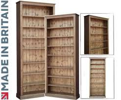 tall pine bookcase 8ft x 3ft adjule display shelving unit bookshelves dark oak wax
