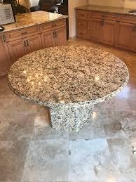 creama brazil round granite table with hexagon shaped granite bass