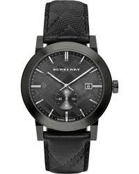 shop men s burberry watches from 246 lyst burberry men s check stamped leather strap watch 42mm lyst