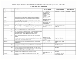 Quality Assurance Plan Example Quality Control Spreadsheet Template Rome Fontanacountryinn Com