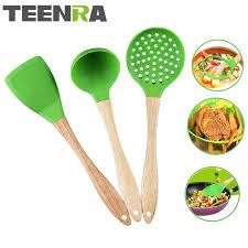 wood utensil sets handle silicone kitchen set cooking tools fried shovel spoon colander home improvement wood utensil sets