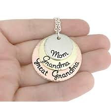 mom grandma great grandma necklace hammered jewelry perfect gift for grandma