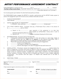 Artist Performance Contract Business Form Letter Template