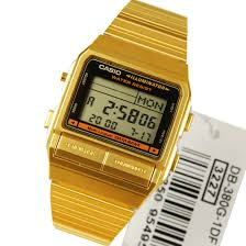 casio data bank gold plated dual time watch db 380g 1 db380g