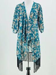 Lularoe Monroe Kimono Size Small S Blue White Floral Roses