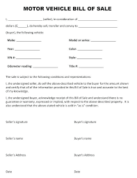 Vehicle Bill Of Sale Form Classy Car Contract Template Bill Of Sale Contract For Car Agreement