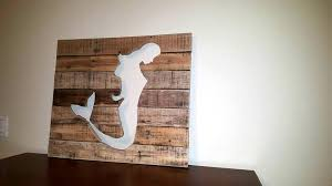 handcrafted wooden pallet mermaid wall art