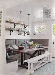 Seating abounds in this built-in breakfast room banquette, and with  high-backed cushions, comfort is ensured. The X-base table makes it easy to  get in and ...