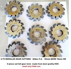 Gear Cutters Involute Modular 2 75 20p A Full Set Of 8 Cutters Hss 22mm Bore