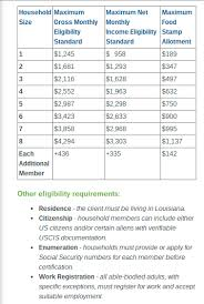 Food Stamp Income Chart Apply For Louisiana Food Stamps Online Food Stamps Now