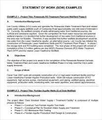 Sample Statement Of Work Template Sample Statement Of Work 10 Example Format