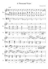 a thousand years piano sheet music a thousand years piano viola duet sheet music for piano viola