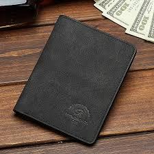 men short wallet student ultra thin leather wallet men ticket money clip vertical black