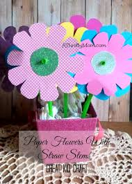 Paper Flower Crafts For Kindergarten Paper Flowers With Straw Stems Great Kid Craft A Thrifty Mom
