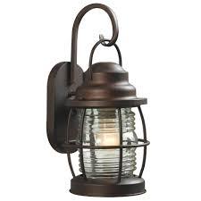 lantern lights outdoor home decorators collection harbor 1 light copper bronze outdoor medium wall lantern