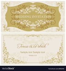 Baroque Wedding Invitations Baroque Wedding Invitation Gold And Beige Vector Image