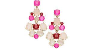 lyst kate spade new york goldtone pink stone chandelier earrings in pink