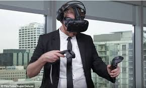 htc vive virtual reality video gaming system. derek westerman (pictured) has been awarded the guinness world record for longest videogame htc vive virtual reality video gaming system