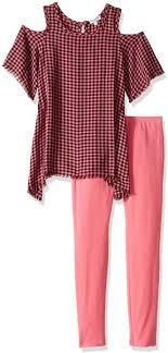 Splendid Toddler Girls Yarn Dyed Plaid Cold Shoulder Top Set Check 2t