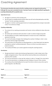 Business Coaching Agreement Contract Coaching Contract Form Tennis Sample Leadership Basketball 1