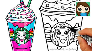 cute starbucks drawing. Contemporary Starbucks How To Draw A Starbucks Unicorn Frappuccino In Cute Drawing YouTube