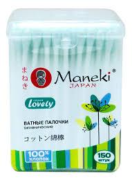 Купить <b>ватные палочки Maneki Lovely</b> (в стакане) зеленые 150 ...