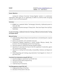 Resume Sample Resume For Software Tester Fresher Economiavanzada Com