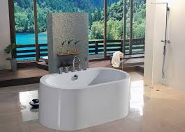 small bathroom with freestanding bathtub in white color scheme placed on cream ceramic tiled floor