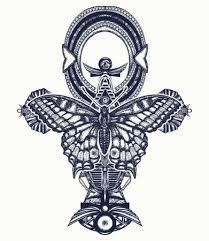 Vektorová Grafika Ankh A Butterfly Tetování A Tričko Design