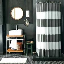 masculine bathroom with stripes shower curtains and black walls also floors stripe curtain white striped bl