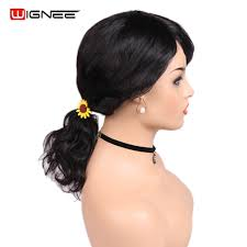 <b>Wignee</b> Natural <b>Wave Human</b> Hair Wigs With Free Bang For Women ...