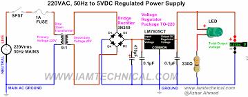 schematic 7805 voltage regulator the wiring diagram regulated 220vac to 5vdc power supply using voltage regulator schematic