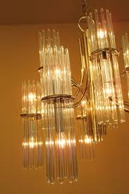 1970s glamour glass rod chandelier by lightolier