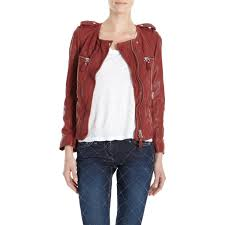 Étoile isabel marant quilted zip front leather jacket in red lyst