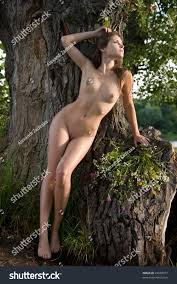 Beautiful Naked Women Posing On Tree Stock Photo Edit Now