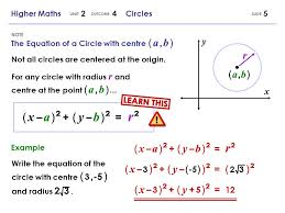 the equation of a circle with centre a b 5higher maths 2 4