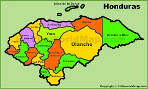 administrative map of honduras