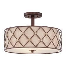 brown lattice semi flush ceiling light in copper canyon