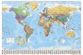large world map poster wall chart with country flags new up to date version 1 of 1free