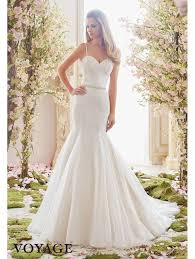 mori lee 6835 pearl and crystal beaded fit and flare wedding dress