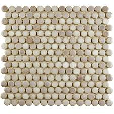 chose penny tile merola tile hudson penny round glossy white  in x    in x  mm porcelai