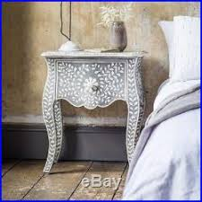 handmade indian camel bone inlay modern antique wooden furniture bed side table