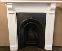 original victorian cast iron fireplace with painted solid wooden surround