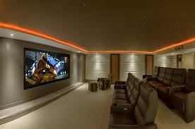 lighting for home theater. Home Cinema Design Ideas Theater Contemporary With Neutral Colors Wall Treatment Leather Chairs Lighting For
