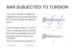 torsion force. 9. bar subjected to torsion torsion force