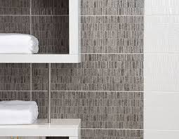 mosaic white and grey linear patterned effect bathroom wall tiles