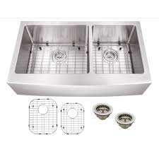 schon all in one a front stainless steel 36 in double bowl kitchen sink scapl604016 the home depot